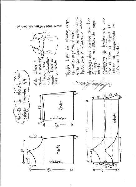 Esquema de modelagem de regata de alcinha com babado tamanho 44.