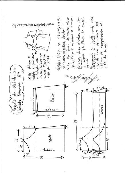 Esquema de modelagem de regata de alcinha com babado tamanho 54.