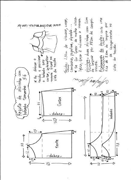Esquema de modelagem de regata de alcinha com babado tamanho 56.