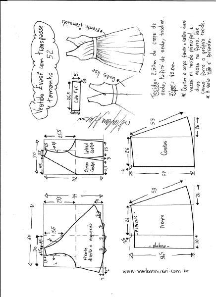 Esquema de modelagem de vestido evasê com transpasse tamanho 52.