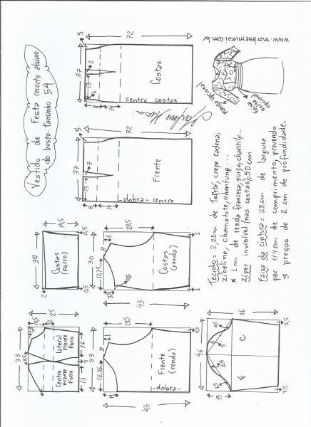 Esquema de modelagem de vestido de festa com recorte abaixo do busto tamanho 54.