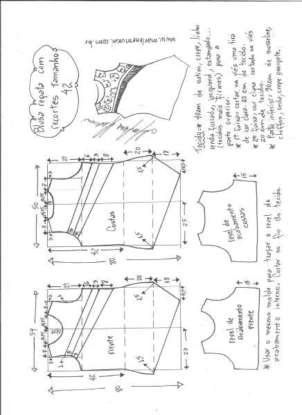 Esquema de modelagem de blusa regata com recortes diagonais tamanho 42.