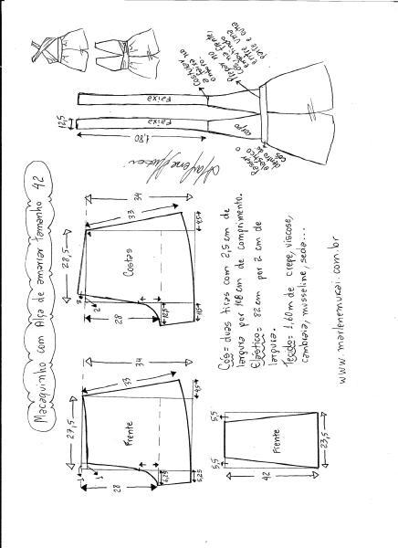 Esquema de modelagem de macaquinho de alças cruzadas tamanho 42.