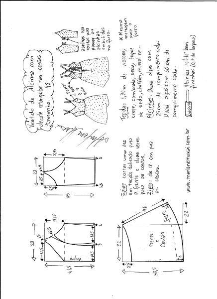 Esquema de modelagem de vestido de alcinha e decote costas tamanho 48.