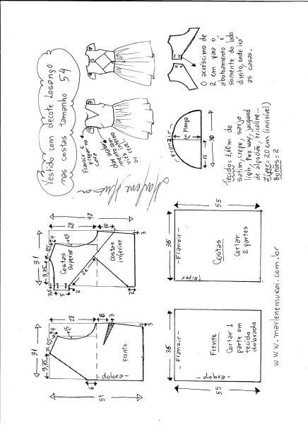 Esquema de modelagem de vestido com decote losango nas costas tamanho 54.