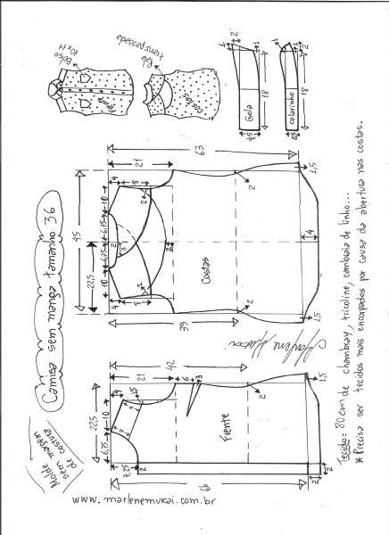 Esquema de modelagem de camisa sem manga com abertura nas costas tamanho 36.