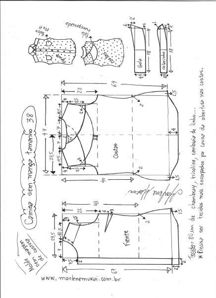 Esquema de modelagem de camisa sem manga com abertura nas costas tamanho 38.