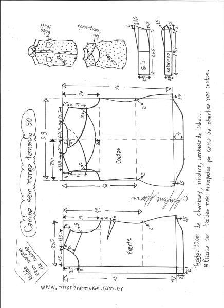Esquema de modelagem de camisa sem manga com abertura nas costas tamanho 50.
