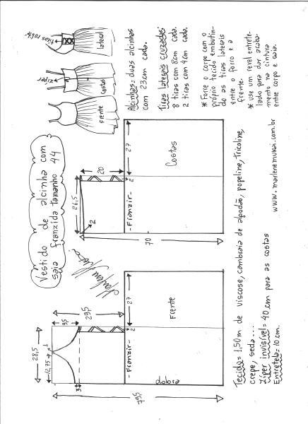 Esquema de modelagem de vestido de alcinha saia franzida tamanho 44.