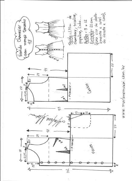 Esquema de modelagem de vestido chamisier tamanho 48.