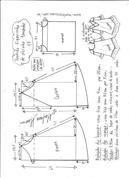 Esquema de modelagem de vestido ciganinha de alcinha tamanho 48.