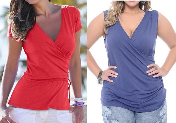 Esquema de modelagem de blusa transpassada para malha com manga opcional do PP ao EXG.