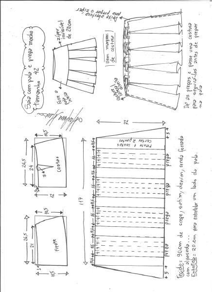 Esquema de modelagem de saia com pala e pregas macho tamanho 42.