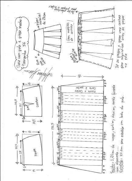 Esquema de modelagem de saia com pala e pregas macho tamanho 56.