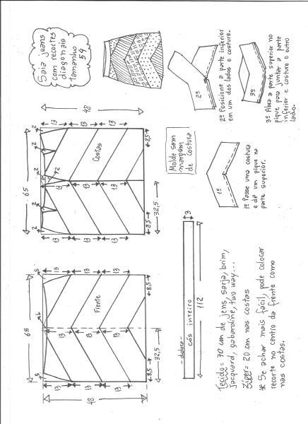 Esquema de modelagem de saia jeans com recortes tamanho 54.