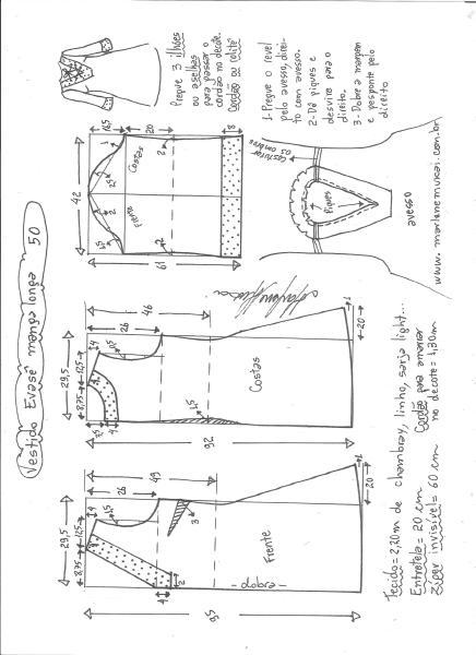 Esquema de modelagem de vestido evasê manga longa tamanho 50.