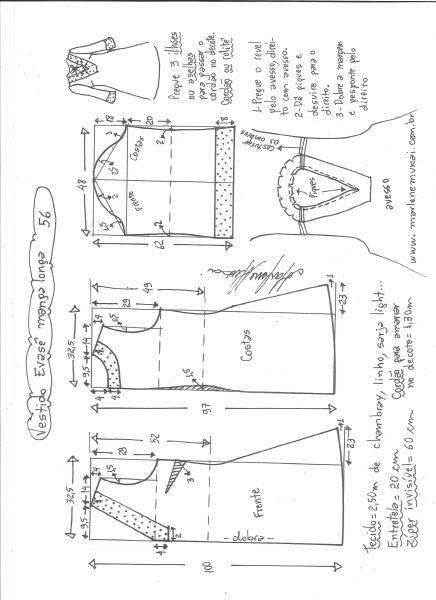 Esquema de modelagem de vestido evasê manga longa tamanho 56.