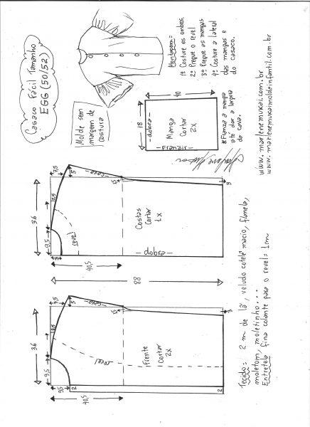 Esquema de modelagem de casaco sobretudo fácil EGG.