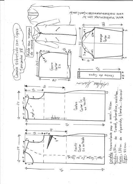 Esquema de modelagem de sobretudo com capuz tamanho 38.