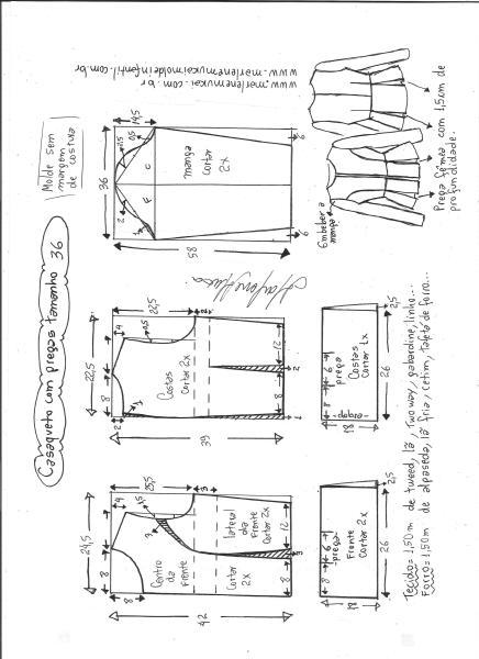 Esquema de modelagem de casaqueto com pregas tamanho 36.
