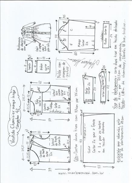 Esquema de modelagem  vestido chamesier manga longa saia franzida tamanho 42.