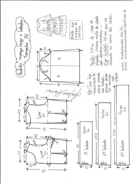 Esquema de modelagem de vestido manga longa babados tamanho 36.