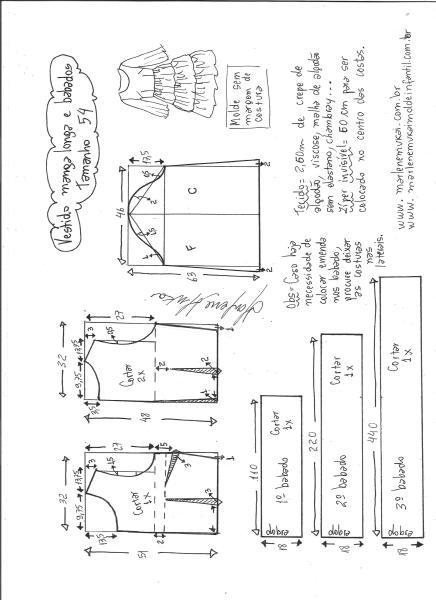 Esquema de modelagem de vestido manga longa babados tamanho 54.