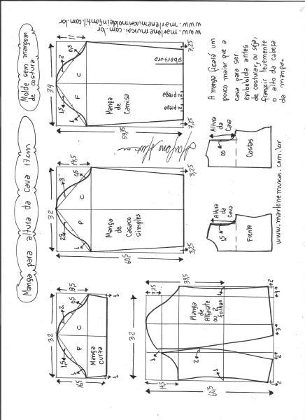 Esquema de modelagem de mangas curta, de casaco, camisa e alfaiate para altura de cava de 17 cm.