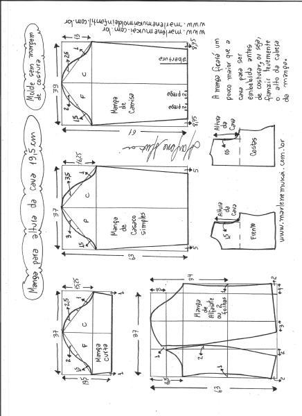 Esquema de modelagem de mangas curta, de casaco, camisa e alfaiate para altura de cava de 19,5 cm.