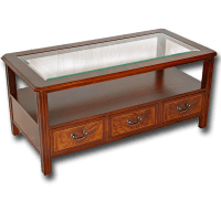 Reproduction Glass Top Chippendale Coffee Table in Yew or ...