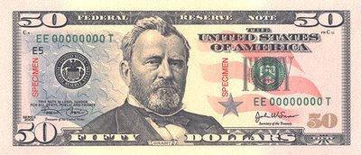 Ulysses S Grant On Money 50 Dollar Bill