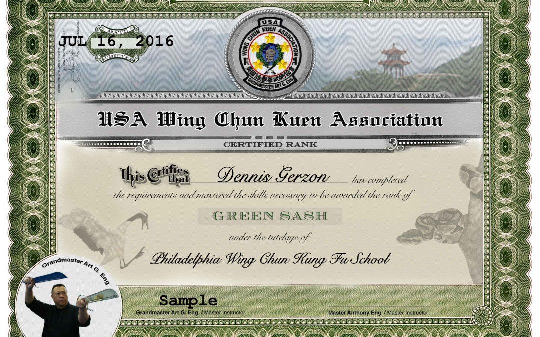 USA Wing Chun Kuen Association - Green Sash Award Certificate - certificate of rank template