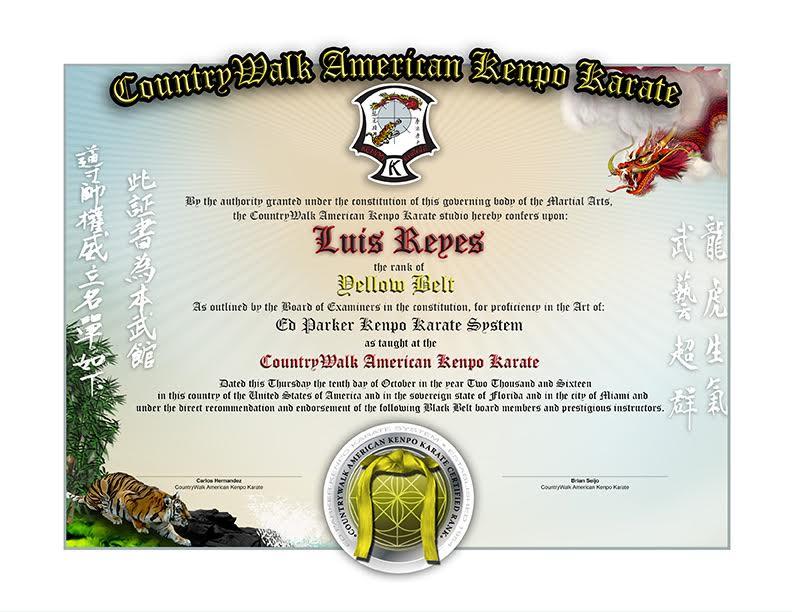 CountryWalk Kenpo Karate - Lower Rank Sample - Martial Arts Certificates - certificate of rank template