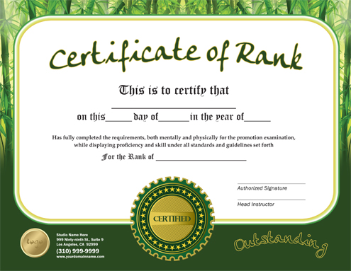 Martial Arts Design Templates - certificate of rank template