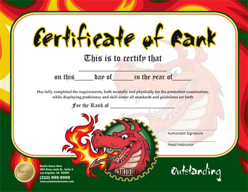 Martial Arts Rank Certificates Templates