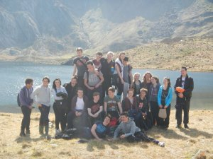 Posing in the sunshine at the entrance to Cwm Idwal