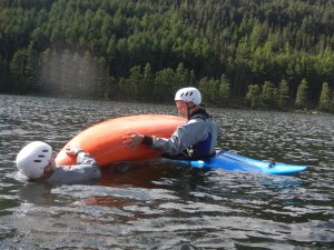 Rescueing a capsized kayaker