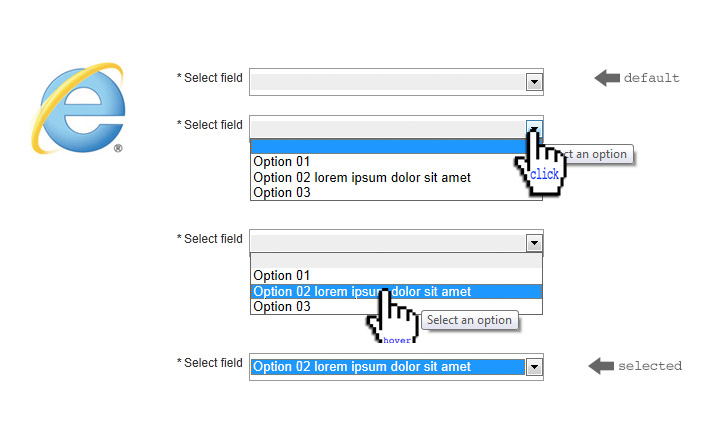 Styled option tag layout in Microsoft IE9 browser