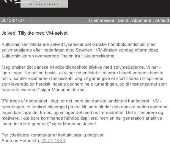 Marianne Jelveds mail om håndboldlandsholdet som vinder sølv
