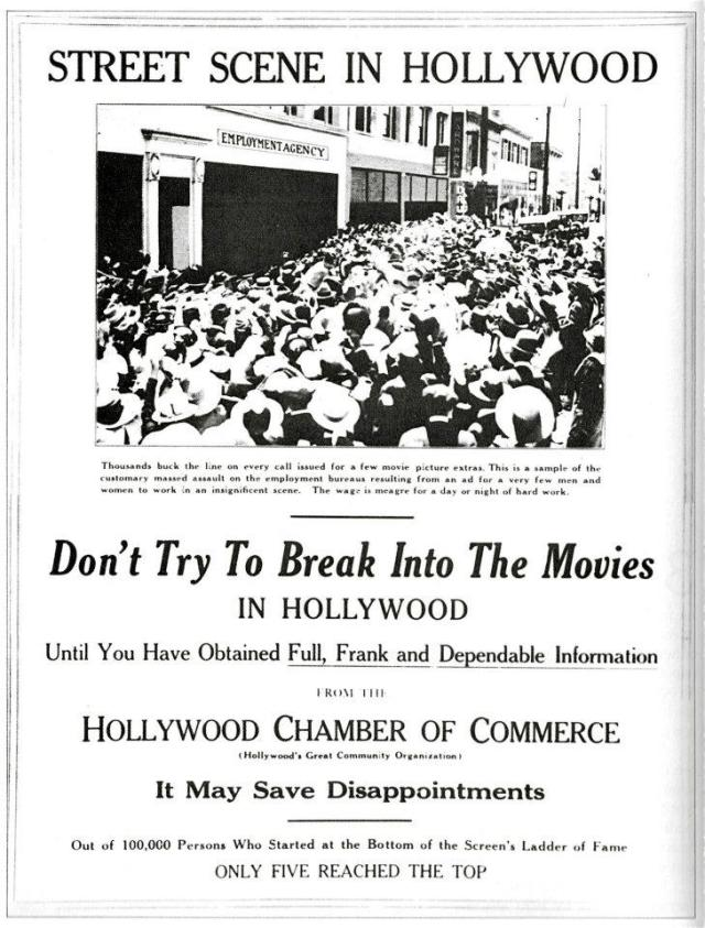 """Don't Try To Break Into The Movies"" advertisment"