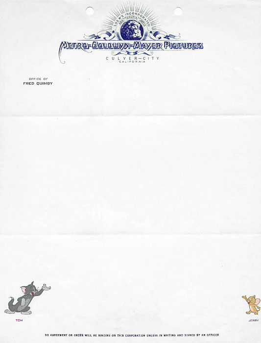Letterheads from various Hollywood studios, places and people - official letterhead