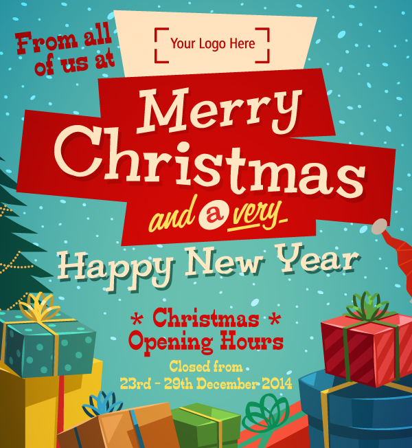Do your customers know your opening hours over Christmas? - Martlette - merry email template