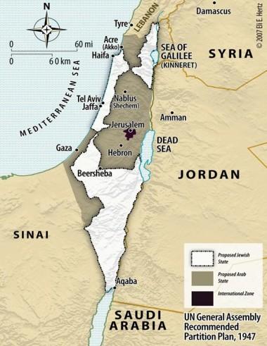 1947 UN partition map of palestine gaza west bank