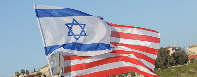 The flags of Israel and America