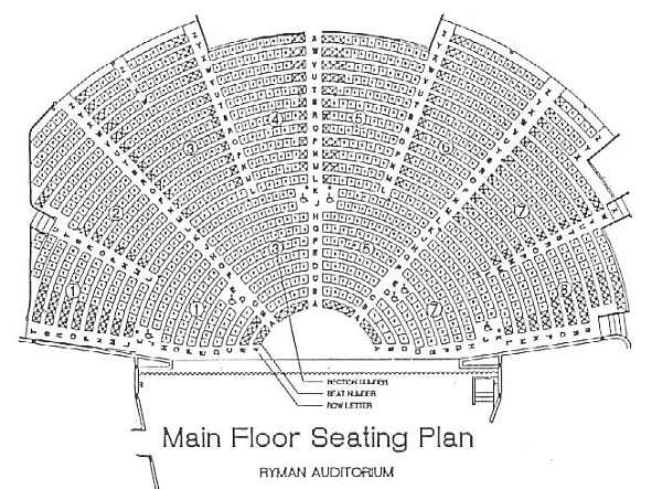 Ryman Auditorium Seating Plan