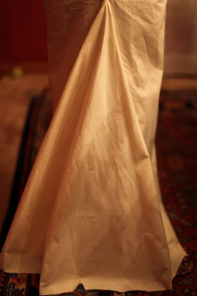 Long Silk and Lace Wedding Dress