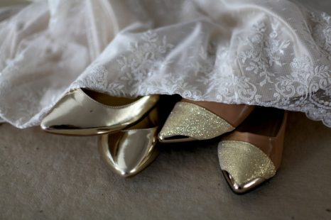Gold shoes flats with silk and lace wedding gown marusya