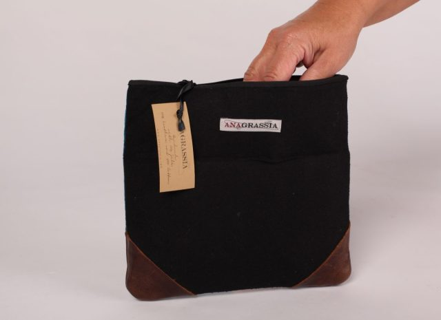 Brika Genuine Leather Silk Clutch Handbag handmade Marusya red burgandy magenta