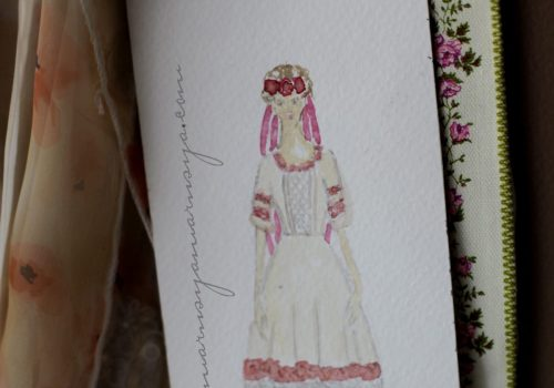 First sketch of Ukrainian dedding dress for Stephani
