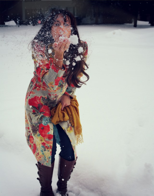 floral jacket marusya outside in snow